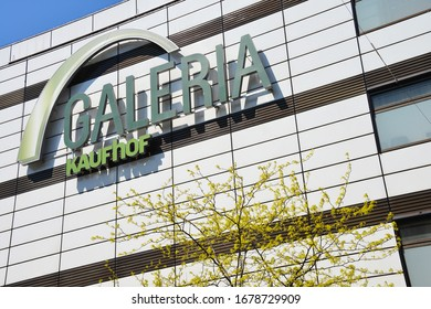 Hanover, Lower Saxony  / Germany - May 11, 2017: Logo of Galeria Kaufhof in Hanover, Germany - Kaufhof is a German department store chain