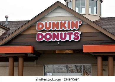 HANOVER, MD, USA - DECEMBER 23, 2015: Dunkin' Donuts storefront in Hanover, Maryland. Dunkin' Donuts is an American global doughnut company and coffeehouse chain based in Canton, Massachusetts.