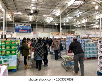 HANOVER, MD, USA - FEBRUARY 3, 2018: Costco Wholesale checkout lines on a busy Sunday.