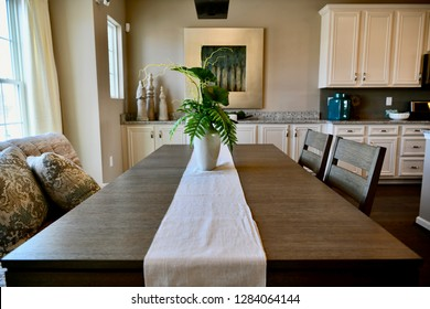 HANOVER, MD, USA - MARCH 21, 2018: Dining room table inside a modern home.