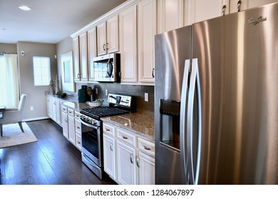 HANOVER, MD, USA - MARCH 21, 2018: Luxury kitchen inside a modern home.