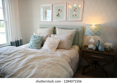HANOVER, MD, USA - MARCH 21, 2018: Bedroom inside a modern home.