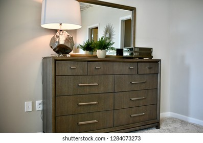 HANOVER, MD, USA - MARCH 21, 2018: Bedroom furniture inside a modern home.