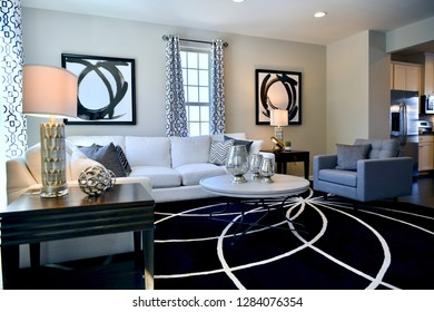 HANOVER, MD, USA - MARCH 21, 2018: Living room interior inside a modern home.