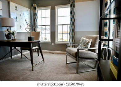 HANOVER, MD, USA - MARCH 21, 2018: Small office inside modern home.