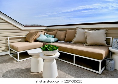 HANOVER, MD, USA - MARCH 21, 2018: Rooftop furniture on modern home.