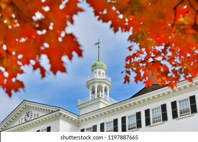 Hanover, New Hampshire USA - October 6, 2018: The Dartmouth Hall on campus of Dartmouth College. Dartmouth College is a private Ivy League research university in Hanover, New Hampshire