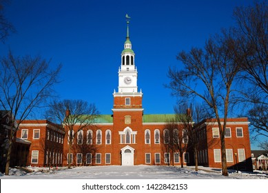 Hanover, NH, USA December 17 Baker Tower stands in the center of the Dartmouth University campus in Hanover, New Hampshire