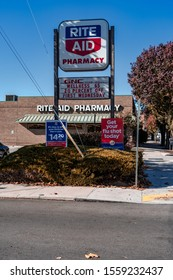 Hanover, PA USA - November 6, 2019: Rite Aid Pharmacy, operated by the Rite Aid Corporation. Rite Aid is the largest drugstore chain on the East Coast and the third largest in the U.S.