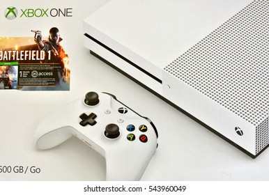 HANOVER, USA - DECEMBER 27, 2016: A picture of a brand new Xbox One S battlefield bundle that was received for Christmas.