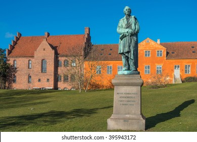 Hans Christian Andersen statue near the river in Odense, Dernmark