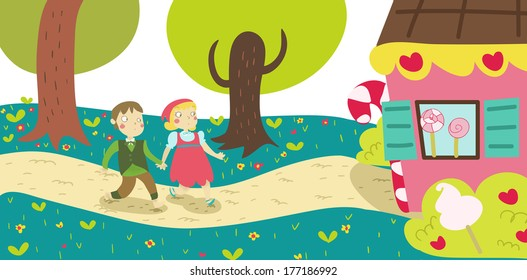 Hansel and Gretel tale illustration: They find the gingerbread house in the wood. Close up