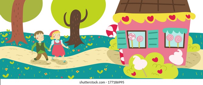 Hansel and Gretel tale illustration: They find the gingerbread house in the wood.