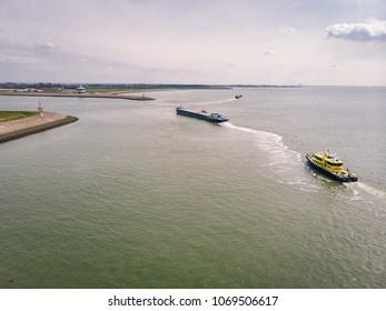 Hansweert Netherlands April 2018 , Port of the lock conection from the schelde river to Oosterschelde