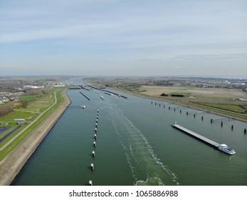 Hansweert Netherlands April 2018, Ship in the locks of Hansweert at the river Schelde