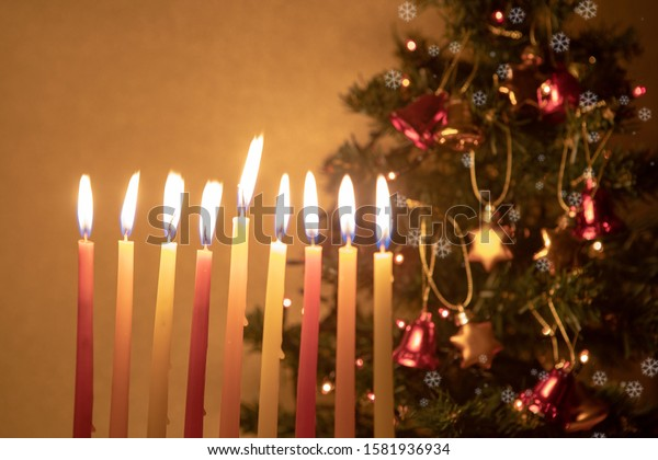 Hanukkah candles burning on the background of Christmas tree, decorated with bells and stars of David. Concept of two holidays happening in the same period this year.