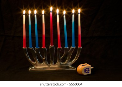 Hanukkah Candles and Dreidel