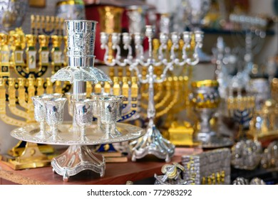 hanukkah candlesticks on Jerusalem souvenir store