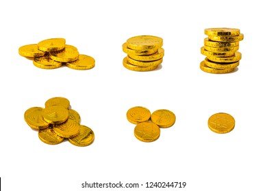 Hanukkah chocolate coins isolated on white