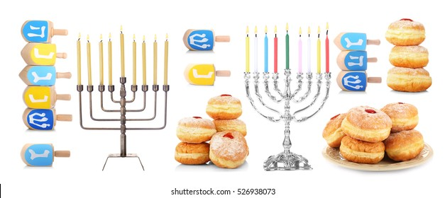 Hanukkah collage on white background. Hanukkah celebration concept.