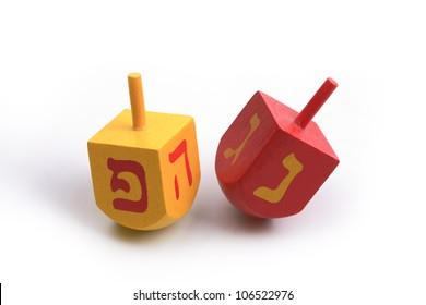 Hanukkah Dreidels, isolated