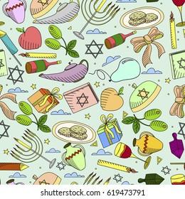 Hanukkah line art design raster illustration seamless. Separate objects. Hand drawn doodle design elements.