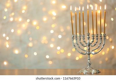 jewish holiday hanukkah background realistic menorah stock vector