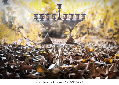 Hanukkah Menorah, also Chanukiah Menorah or Hanukkiah Menorah. Nine-branched Jewish candelabrum lit during the eight-day holiday of Hanukkah. Menorah - Jewish Holiday Symbol Hanukkah. Israel