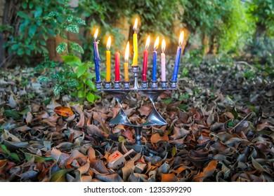 Hanukkah Menorah in the form of a Jewish star Magen David and Sevivon (Wood Dreidel), Israel. Menorah - candelabrum for Jewish Holiday Hanukkah. Sevivon - a. Image for Happy Hanukkah