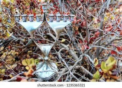 Hanukkah Menorah, also Hanukkiah Menorah or Chanukiah Menorah. Menorah in the form of a Jewish star Magen David. Jewish candelabrum - Jewish Holiday Symbol Hanukkah. Israel