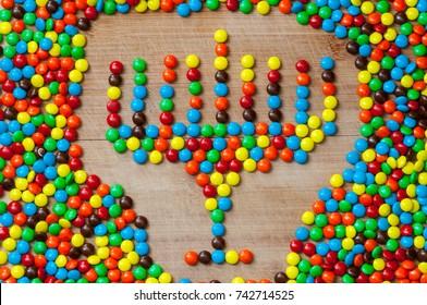 Hanukkah menorah made out of chocolate candy