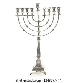Hanukkah Menorah On White Background