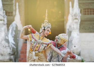Hanuman and Suvannamaccha in Thai classical mask dance of the Ramayana epic