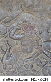 Hanuman's monkey warriors in Langka battle, carved  bas relief based on Hindu myth Ramayana, Angkor Wat,  Siem Reap, Cambodia