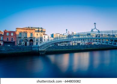 Ha'penny Bridge in Dublin in sunset