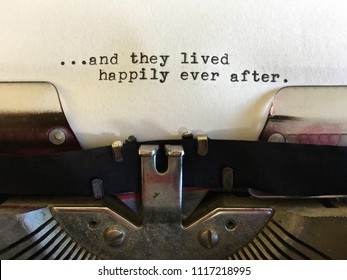 ...happily ever after, fairytale ending typed on vintage manual typewriter machine