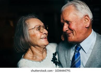 Happily married elderly couple