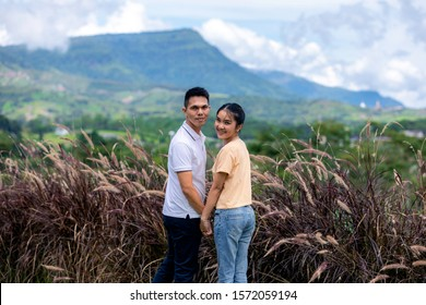 Happiness asian couple in love prewedding photography