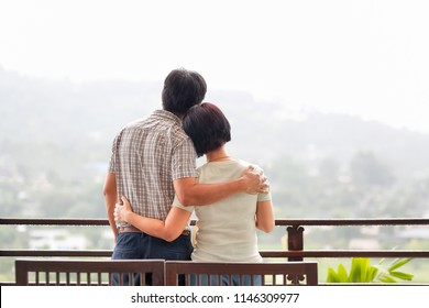 Happiness asian middle aged a couple in holiday.