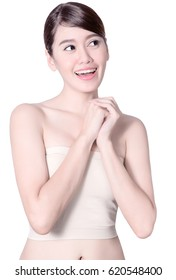 Happiness Beautiful asia woman with good skin care on white backgroud, beauty woman concept
