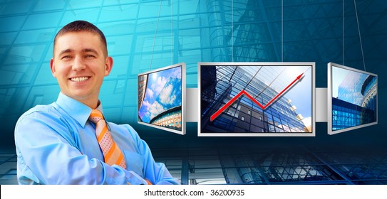 Happiness business man on business architecture background and monitor