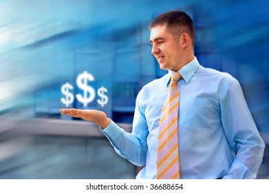 Happiness business man on blur business architecture background