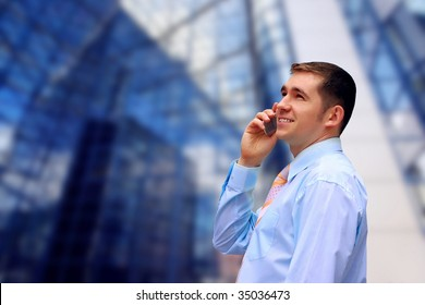 Happiness business men call by phone on business architecture background