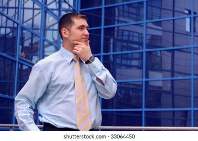 Happiness business men look on business architecture background