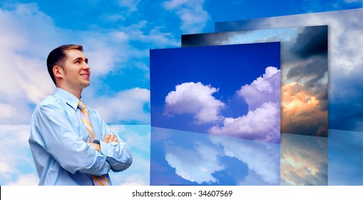Happiness business men on blue sky background