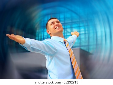 Happiness business men on blur business architecture background
