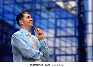 Happiness business men with telephone, look on business architecture background