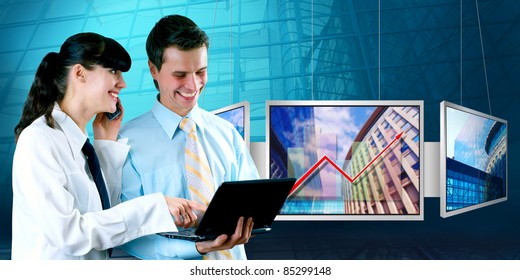 Happiness businessman and businesswoman and display