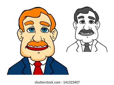 Happiness businessman in cartoon style says a speech. Vector version also available in gallery