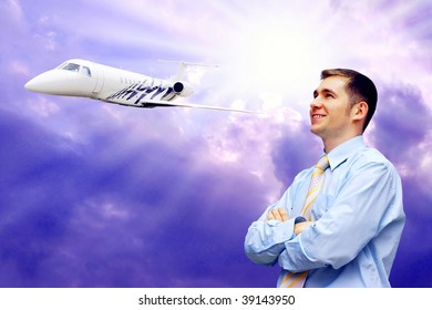 Happiness businessman on blue sky with airplane